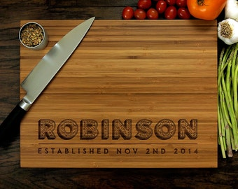 Personalized Wedding Gift, Custom Engraved Wood Cutting Board, Family Name, Anniversary Gift, Hostess Gift, Kitchen Art, Housewarming Gift