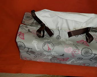 tissue box cover, cover fabric, fabric Paris protects tissue cover kleenex pocket tissue holder, home made cover box