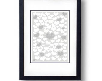 100 Heart Wedding Guest Book Alternative - A2 Print