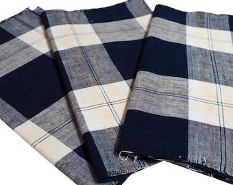 Sale... 3 Textile Panel Set, Vintage Japanese Indigo Cotton Check Pattern Textiles, Sale-257