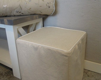 Ottoman Slipcover, Piping, Linen Slipcover, Ottoman Slip Cover, Custom, Cube, Bench, Ottoman Slipcover Square, Harmony