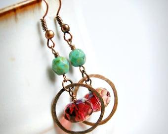 drop earrings, dangle, boho jewelry, czech glass jewelry, gift for her, under 20, girlfriend gift, rustic jewelry