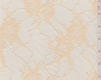 Beige Floral Stretch Lace, Fabric By The Yard