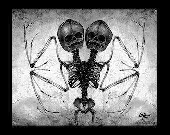 "Print 8x10"" - Two Headed Skeleton Bat Wings - Skull Dark Art Horror Bones Gothic Halloween Haunted Taxdermy Vampire Bats Death Haunted Pop"