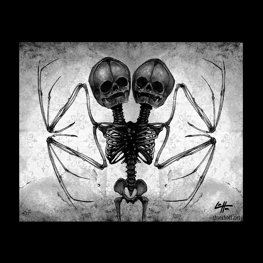 Print X Two Headed Skeleton Bat Wings Skull Dark