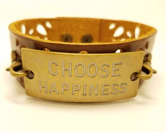 """Leather wristband- Brown leather cuff bracelet- Pewter medallion- """"choose happiness""""- Woman's leather bracelet- 3rd and 9th Anniversary Gift"""