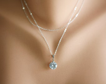 Double layer Sterling Silver necklace,layered necklace,CZ Diamond necklace,Wedding Jewelry,bridesmaid gifts