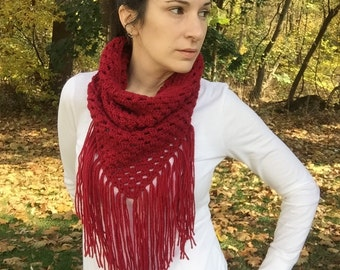 Red triangle scarf with fringe, red crochet cowl scarf, cranberry red scarf, crochet cowboy cowl, crochet scarf with fringe