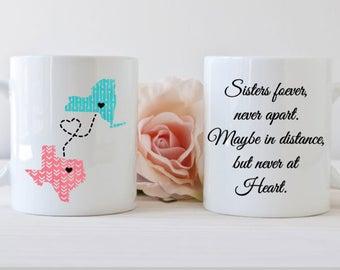 Sister moving gift etsy sister mug long distance mug state mug together forever mug sister coffee negle Choice Image