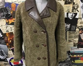 Vintage 1960 1970's Womens Sheepskin Lambskin Fur Coat by Heatona Shearling Brown Beige Leather Size UK 12 Cheap UK & Worldwide Postage