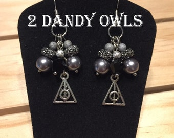 Deathly Hallows Symbol Harry Potter Dangle Earrings