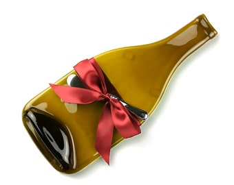 Melted Wine Bottle Cheese Tray, Recycled Amber Glass