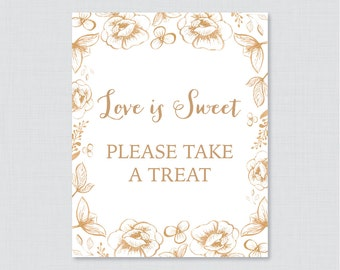 Gold Love is Sweet Sign for Floral Bridal Shower - Printable Gold Flower Shower Favor Table Sign - Love is Sweet Take a Treat Sign 0027
