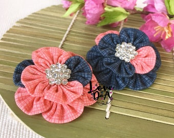 Tem - Koralle - grau - Blumen - Brosche - Pin - Handmade - Hand-genäht - Diamante Zentrum - leicht und einfach um zu tragen - Unikat