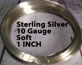 15% Off SALE!! Sterling Silver Wire, 10 Gauge, 1 INCH, WHOLESALE, Soft, Round.