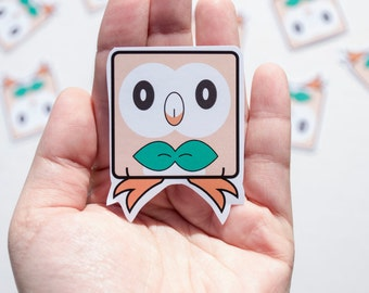 Rowlet Pokemon Sticker Kawaii Cute Video Game Character Gamer Gaming Nerdy Cartoon Anime Stationery Tv Show Owl Sun and Moon Grass Type