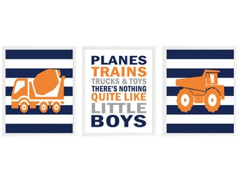 Construction Nursery Art, Baby Boy Nursery, Dump Truck Art, Cement Truck Print, Planes Trains Trucks And Toys, Navy Blue, Orange, Gift