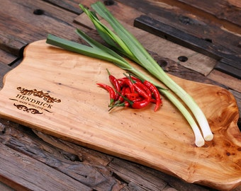 Personalized Cedar Wood Cutting Chopping Board Engraved and Monogrammed Family Name (025205)