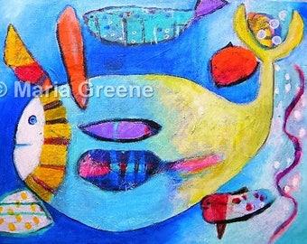 Fish, original painting, acrylic painting, art, fantasy creature, sea, sea life