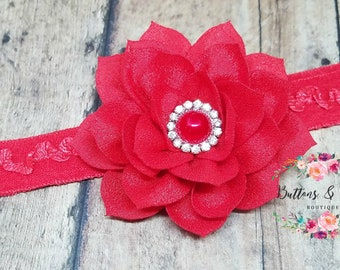Red Lotus Flower Headband, Baby Headband, Infant, Newborn Red Flower Headband