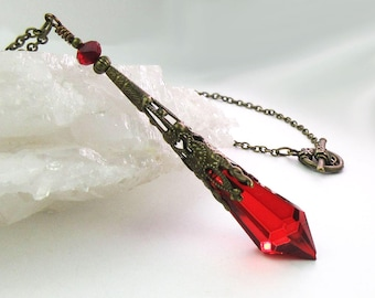 Icicle Prism Pendant, Ruby Red, Antiqued Bronze, Decorative Cone, Crystal Necklace, Mystical, Pendulum Necklace, Victorian Inspired, Gift