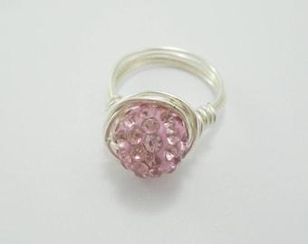 Pink Crystal Ring, Crystal Ring, Pink Ring, Bling Ring, Pink Crystal Cluster Ring, Crystal Stacking Rings, Sparkly Ring, Crystal Wire Ring