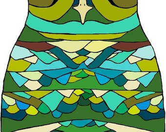 Green Owl - Large Print