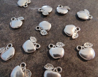 10 Small Apple Charms Orchard Teachers Apples Silver Tone Fruit Basket Eve's Garden of Eden Charm Jewelry 11mm