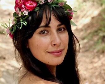 Flower Crown. Flower crown wedding. Green Flower Crown. Bridal Crown. Wedding crown. Pink Peonies Flower Crown. Flower crown adult.
