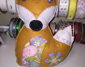 Purple Flower Easter Fox Plushie