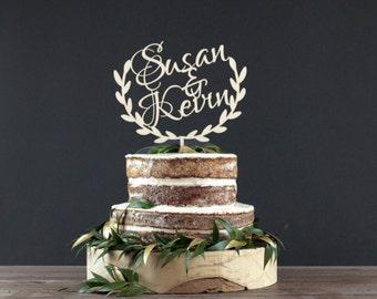Personalized Wedding Cake Topper - Cake Decor - Wood Cake Topper - Wedding Decoration