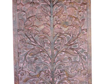 Handmade Vintage Carved Wood Kalpavriksha Door Panel Tree Of Life Wall Hanging Eclectic Interior Design Sale