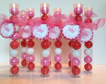 Princess Party, Princess Crown, Princess Ball Gumball Tube Party Favors, Set of 12, Hot Pink, Shimmer Pink and White with Personalization