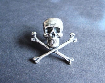 Antiqued Silver Plated Skull and Crossbones Lapel Pin or Tie Pin, Tie Tack with Gift Box