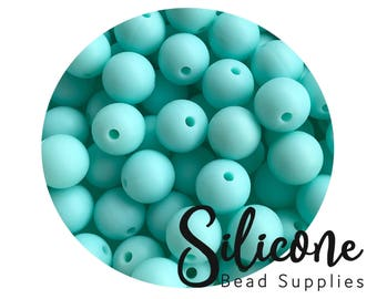 12mm - 5+ Robin Egg Green Round Silicone Beads, Silicone Teething Beads, 100% Food Grade Silicone Beads, BPA Free, Silicone Loose Bead