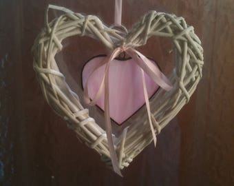 Stained glass and wicker hearts