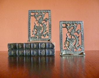 Brass Chinese Dragon Bookends, Folding Brass Bookends, Dragon Doorstop, Chinese New Year Dragon, East Asian Mythology, Library Office Decor