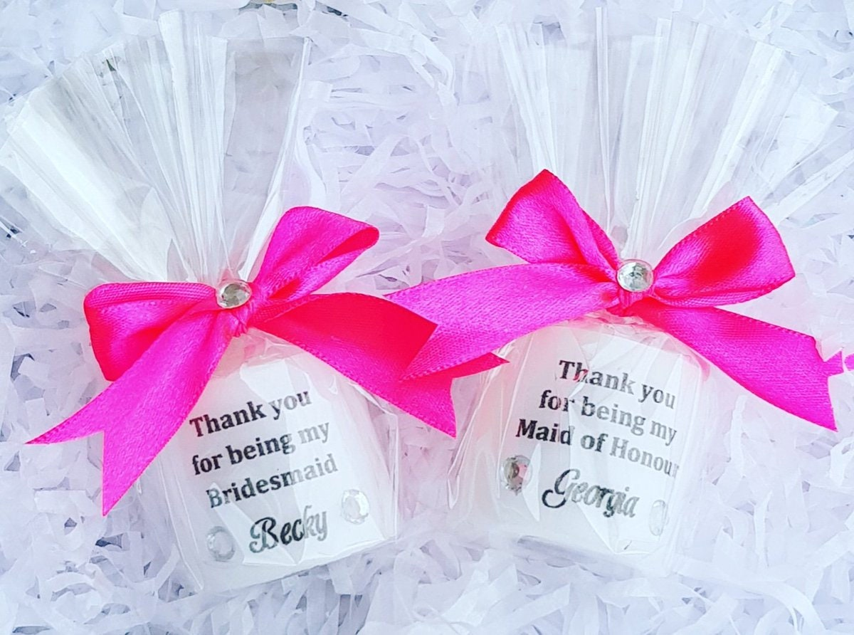 Thank you for being my bridesmaid maid of honour personalised candle ...