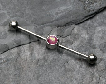 Opal Sparkle Industrial Barbell - Purple