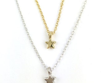 Star Necklace    gold silver pendant charm tiny 14K jewelry