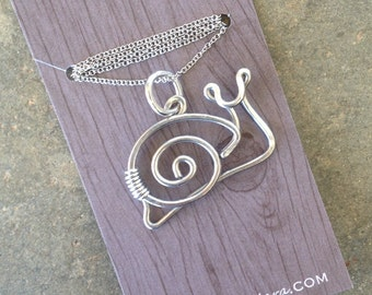 Snail Necklace. Snail. Aluminum. Wire Jewelry