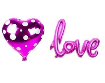"""Set n. 2 Palloncini: """"Hearth a pois"""" + """"Love"""""""