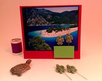 Broche 2 épingles décoratives en céramique de tortues de mer-vert revers/pelote #2589