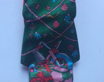 Vintage Christmas Necktie, Christmas Tie, Men's Christmas Necktie, Christmas Ties