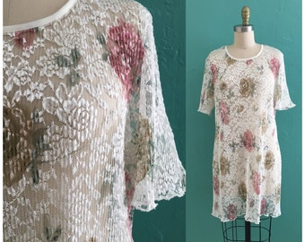 vintage 80's lace floral mini dress //  floral print sheer dress