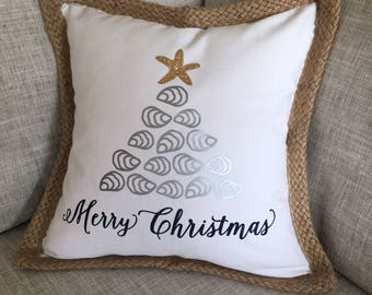 Merry Christmas oyster pillow cover