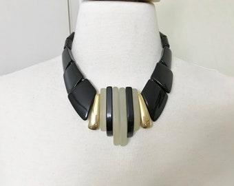 Vintage Art Deco Lucite & Black Resin Necklace