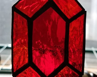 Red Rupee Stained Glass Sun Catcher