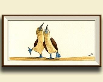PRINT-Blue footed booby - seabird art nursery - blue footed boobies birds - Art Print by Juan Bosco
