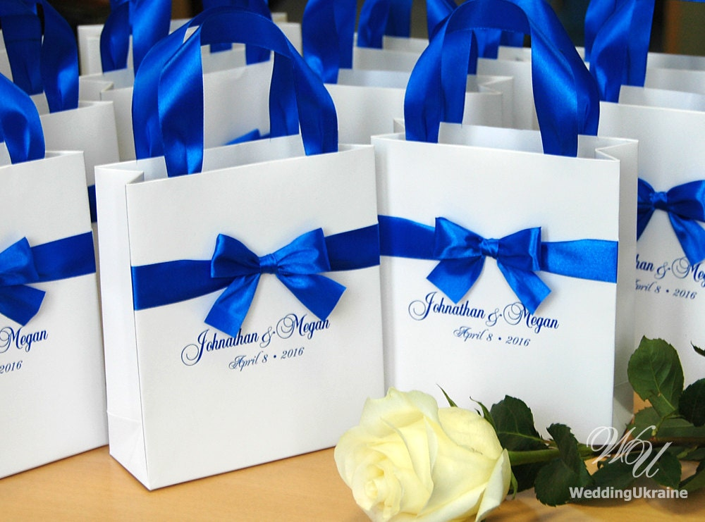 What To Put In Wedding Gift Bags: Royal Blue Wedding Gift Bags With Satin Ribbon Bow And Names
